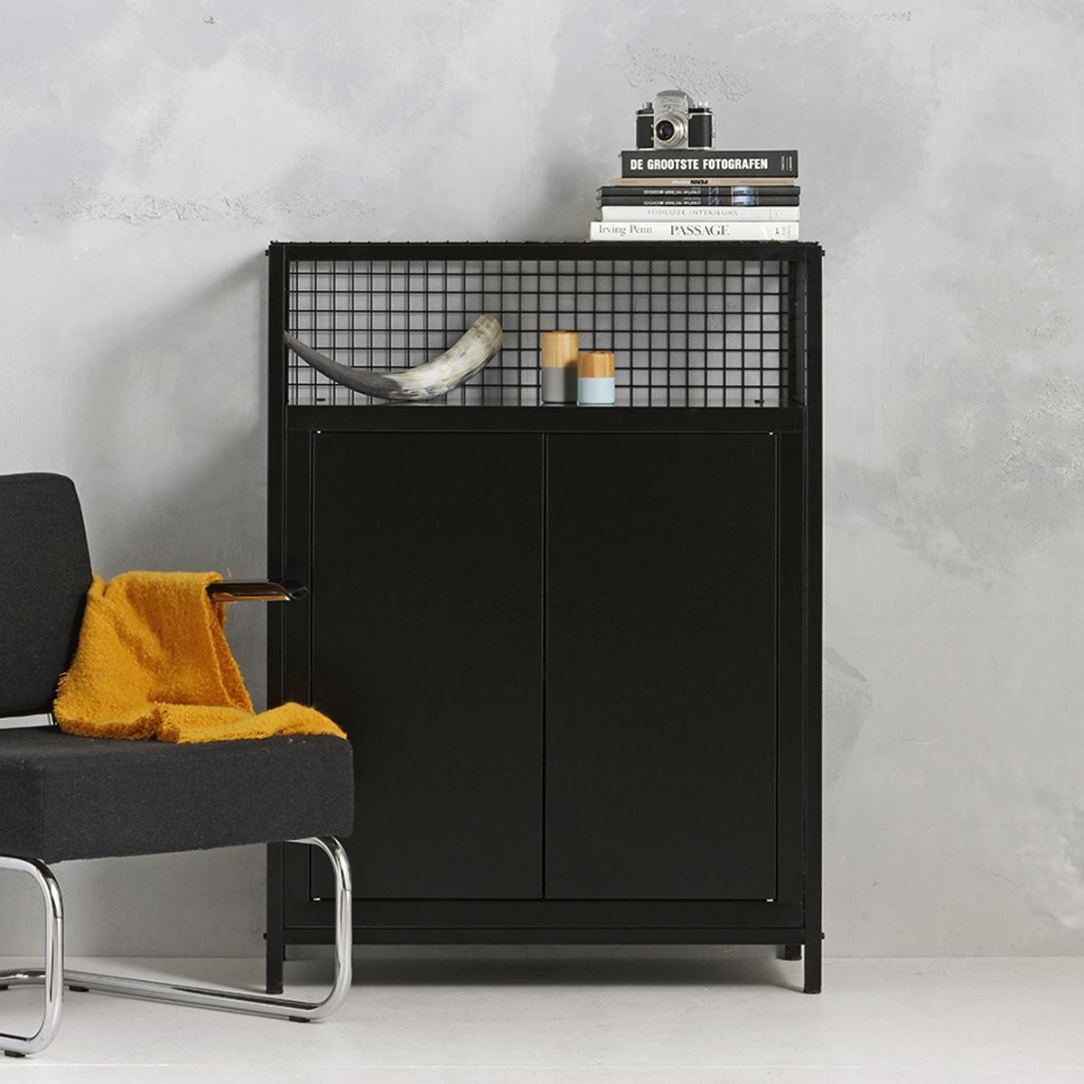 Industrieel dressoir - zwart -  115x85.3x44.5 cm - LCS-103