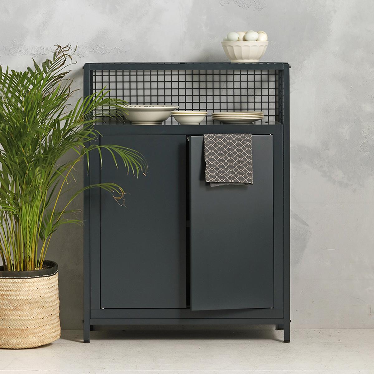 Industrieel dressoir - antraciet - 115x85.3x44.5 cm - LCS-103