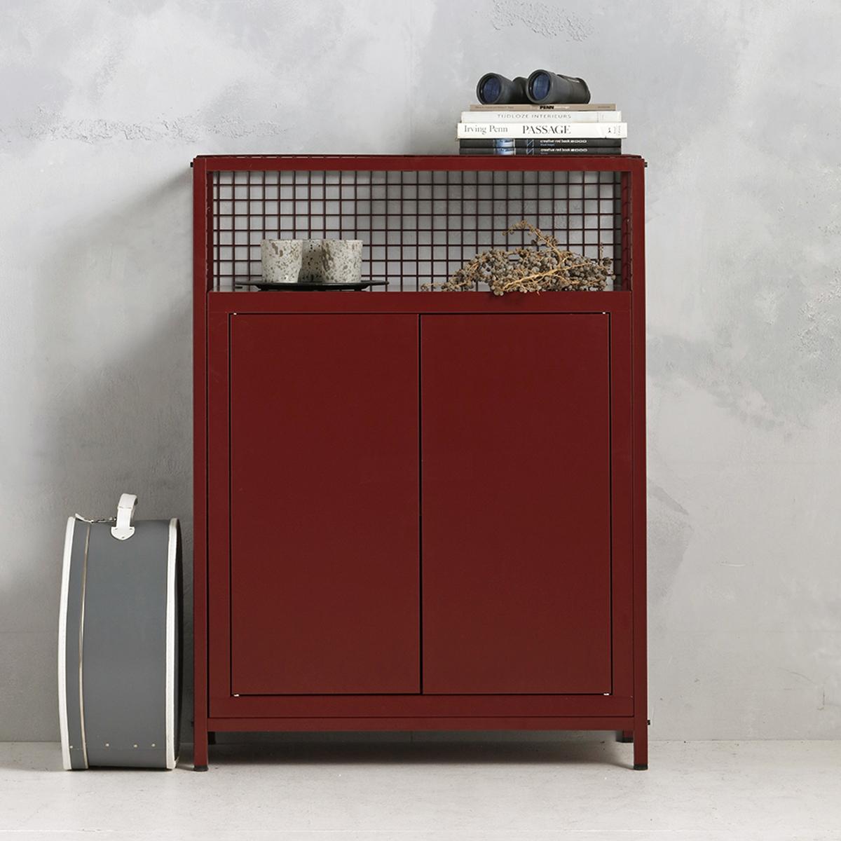 Industrieel dressoir - wijnrood -115x85.3x44.5 cm - LCS-103