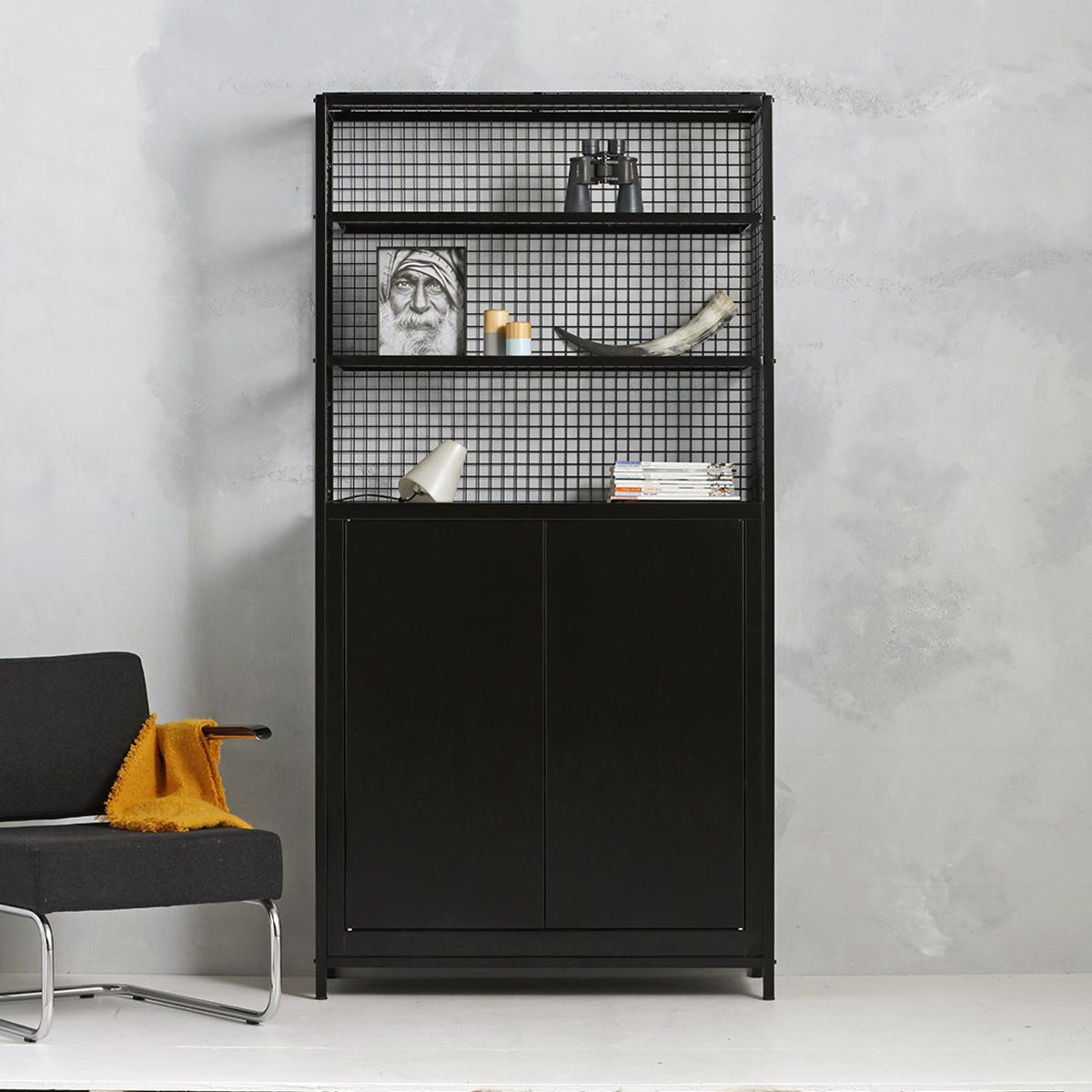 Industriële opbergkast - zwart - 214.1x105.3x44.5 cm - LCS-107