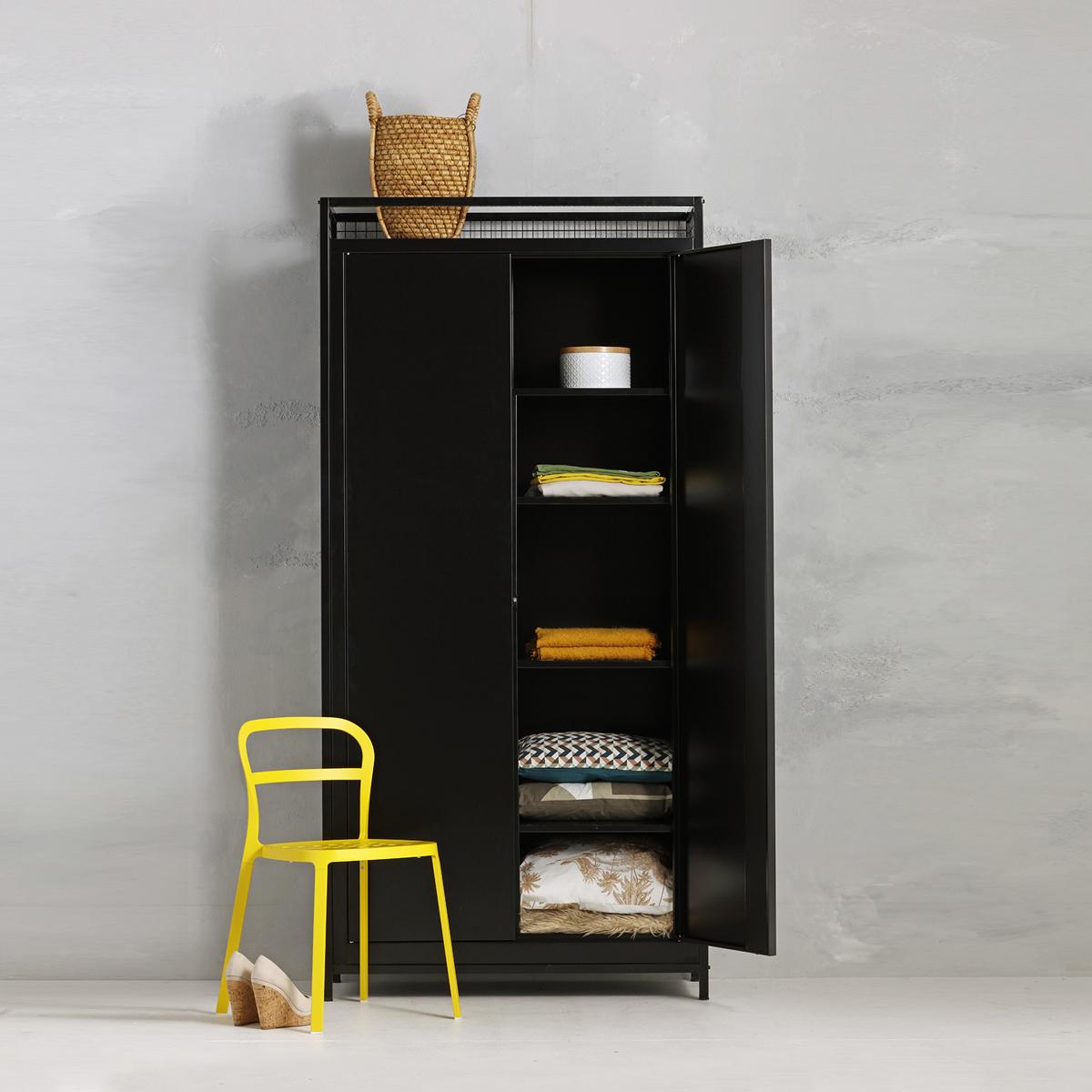 Industriële opbergkast - zwart - 220x105.3x44.5 cm - LCS-109