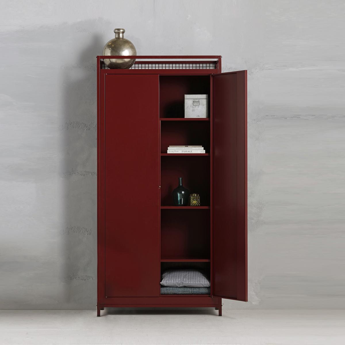 Industriële opbergkast - wijnrood - 220x105.3x44.5 cm - LCS-109