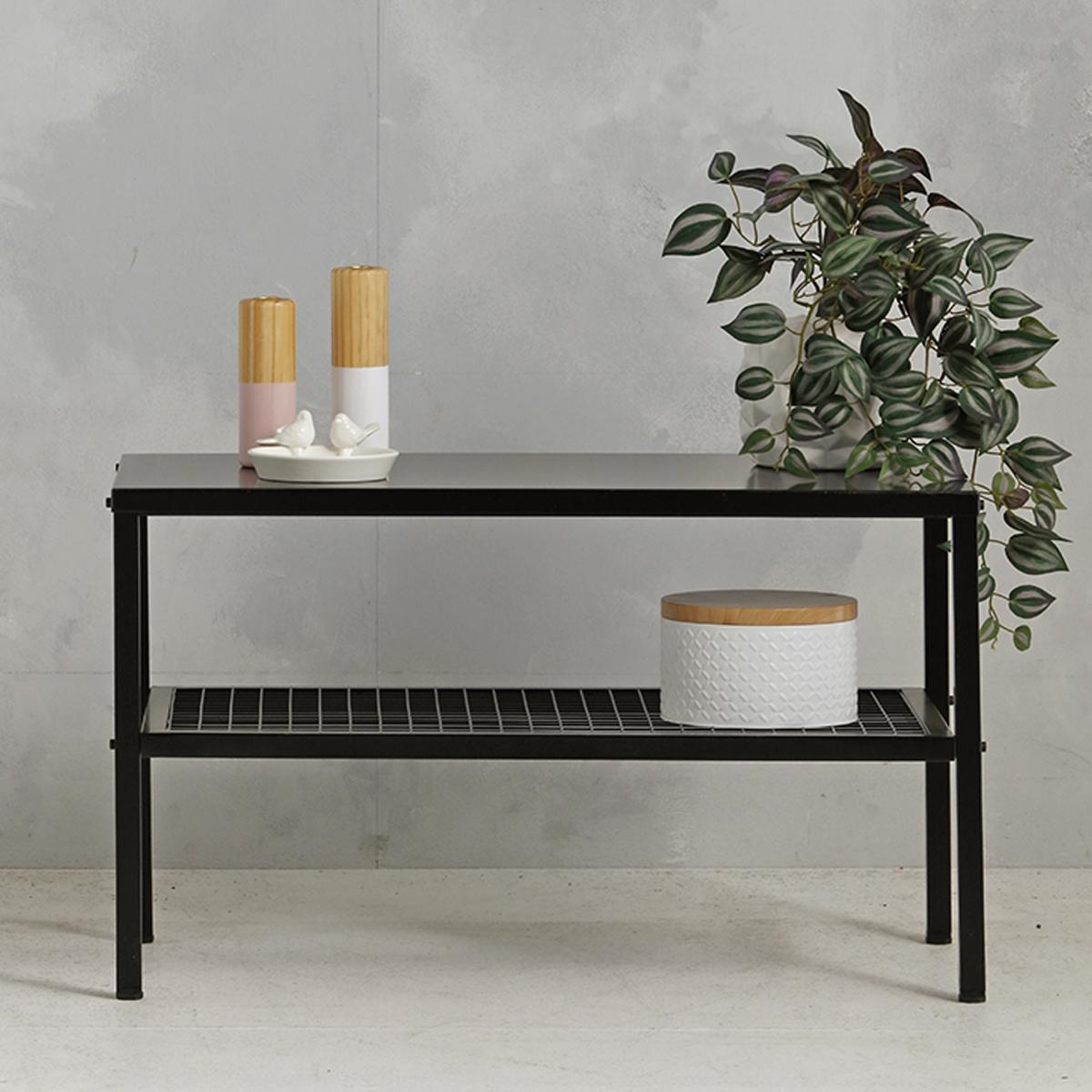 Metalen tafel industrieel - zwart - 50.2x85.3x44,5 cm - LCS-110