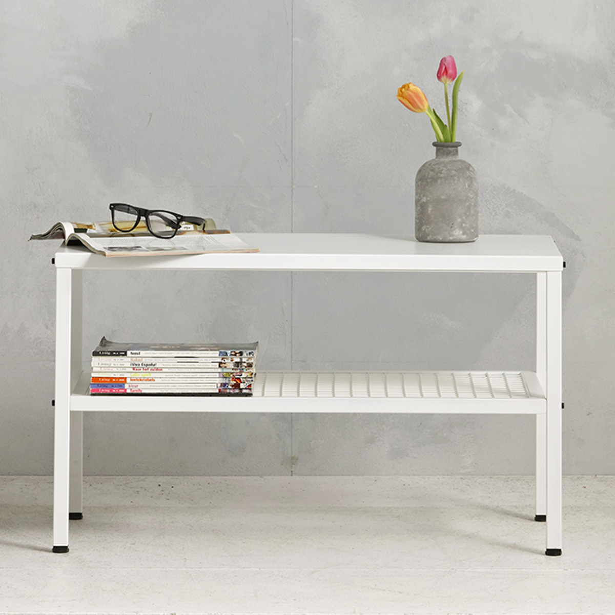 Metalen tafel industrieel - wit - 50.2x85.3x44,5 cm - LCS-110