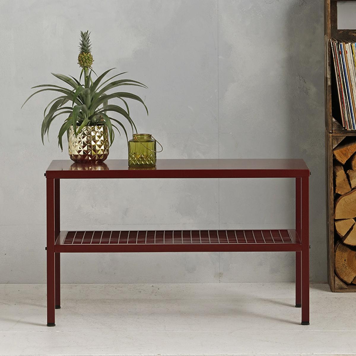 Metalen tafel industrieel - Wijnrood - 50.2x85.3x44,5 cm - LCS-110