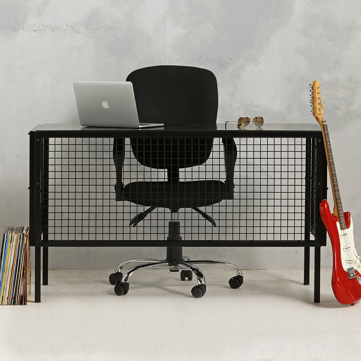 Industrieel metalen bureau - zwart - 75.2x130.7x62 cm - LCS-111