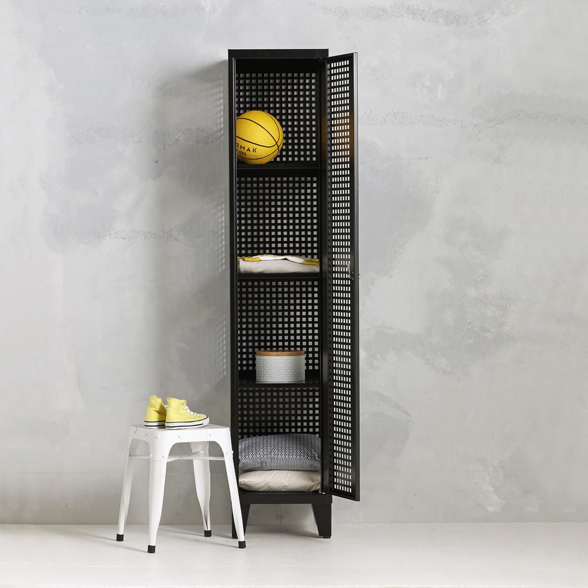 Geperforeerde lockerkast planken - zwart - 1 deurs - 194x40x50 cm - PLS-101