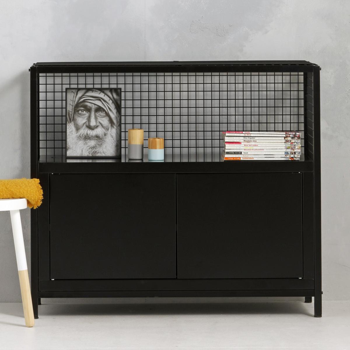 Industrieel dressoir - zwart - 91x105.3x44.5 cm - LCS-102