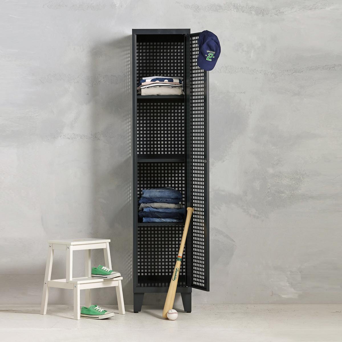 Geperforeerde lockerkast planken - antraciet - 1 deurs - 194x40x50 cm - PLS-101