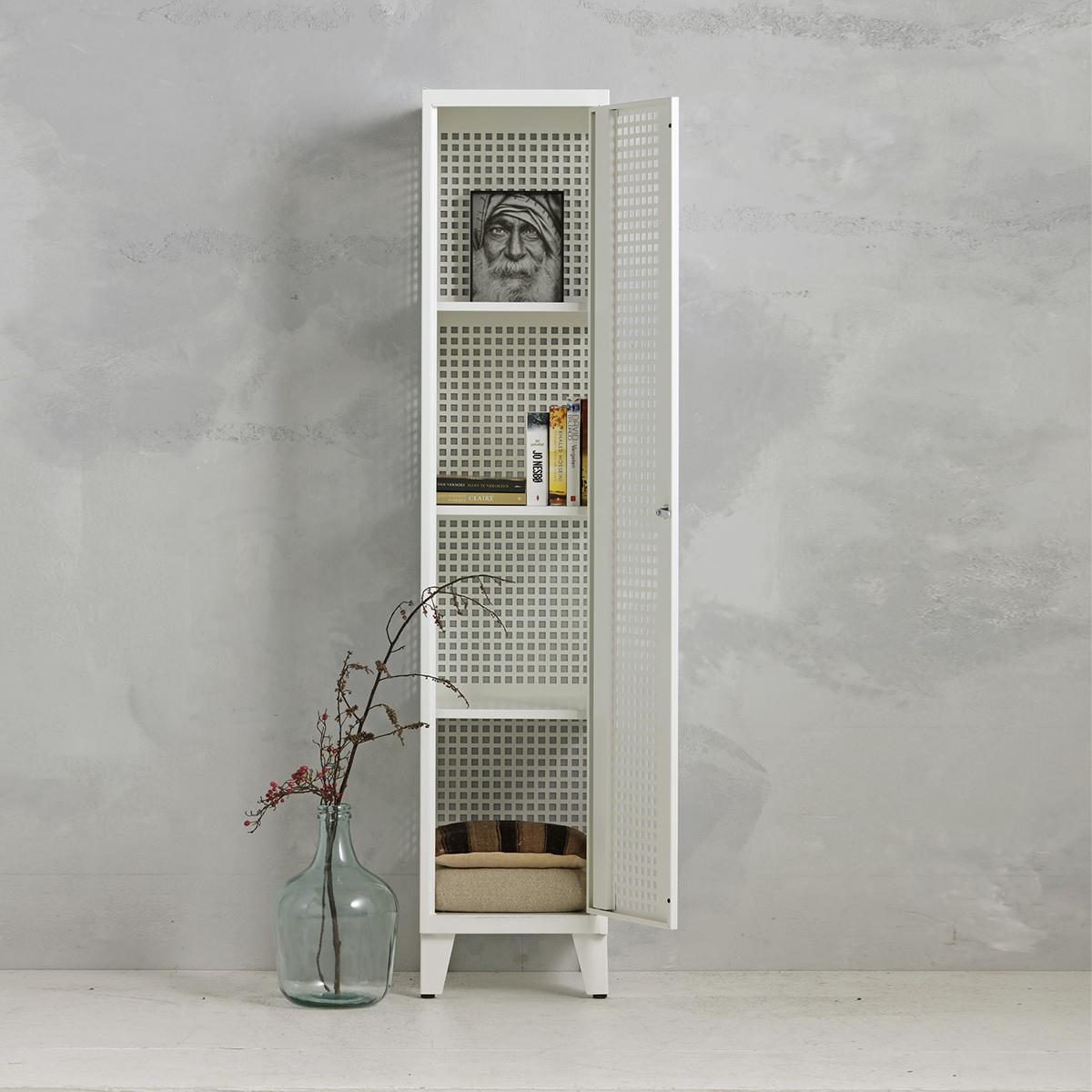 Geperforeerde lockerkast planken - wit -1 deurs - 194x40x50 cm - PLS-101