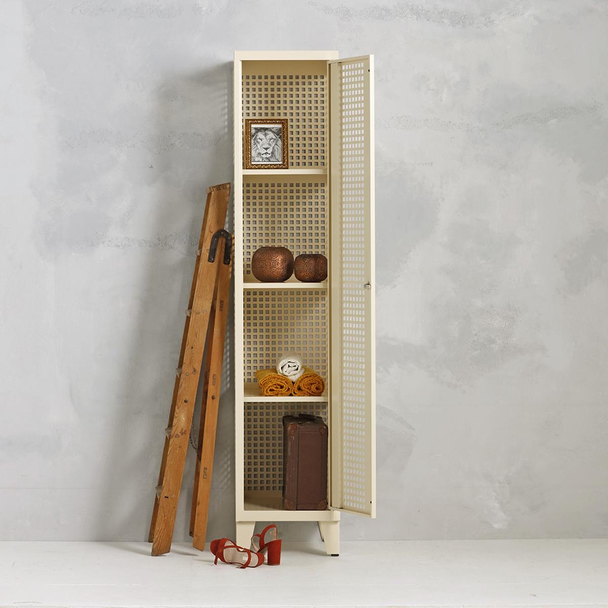 Geperforeerde lockerkast planken - beige - 1 deurs - 194x40x50 cm - PLS-101