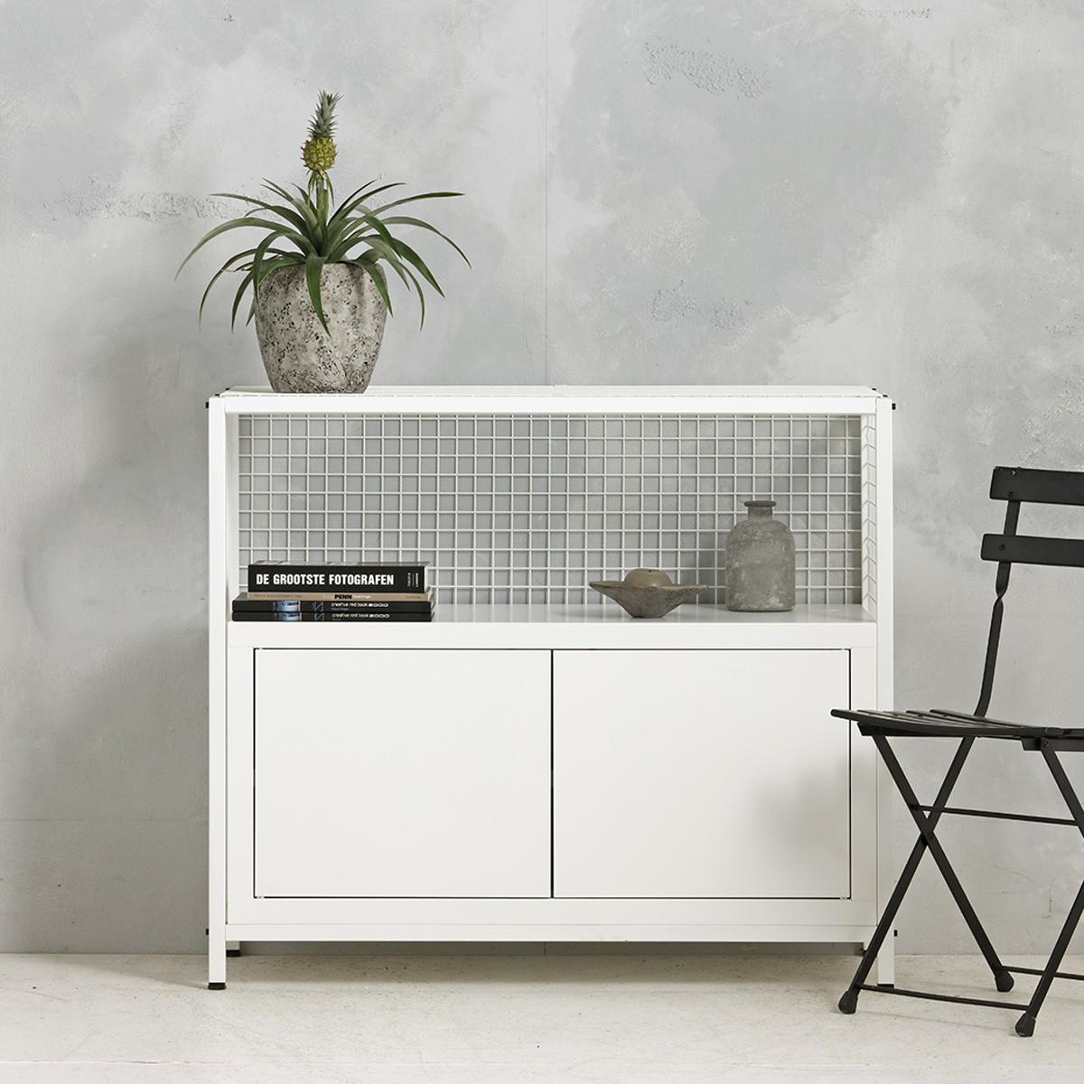 Industrieel dressoir - wit - 91x105.3x44.5 cm - LCS-102