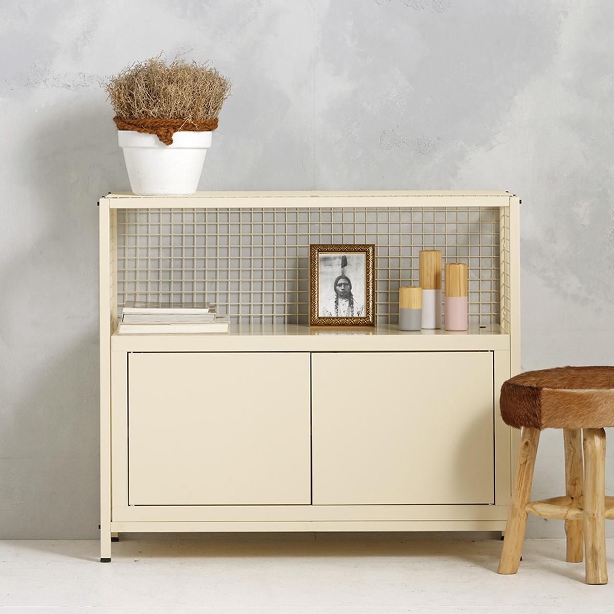 Industrieel dressoir - beige - 91x105.3x44.5 cm - LCS-102